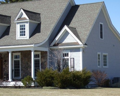 Certainteed Cedar Impressions Triple 5 Inch Vinyl Siding In Sterling Grey Grey Vinyl Siding Cottage Exterior House Siding