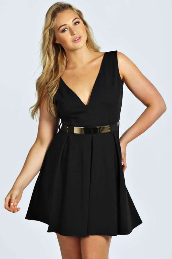 $40, Black Skater Dress: Boohoo Plus Aisha Belted Plunge Neck Skater Dress. Sold by BooHoo. Click for more info: https://lookastic.com/women/shop_items/164216/redirect