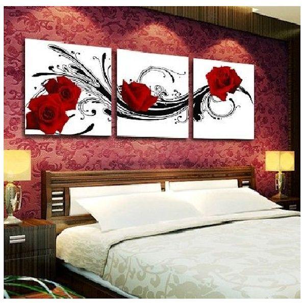 Cuadros para habitaciones matrimoniales actuales flores for Quadros dormitorio