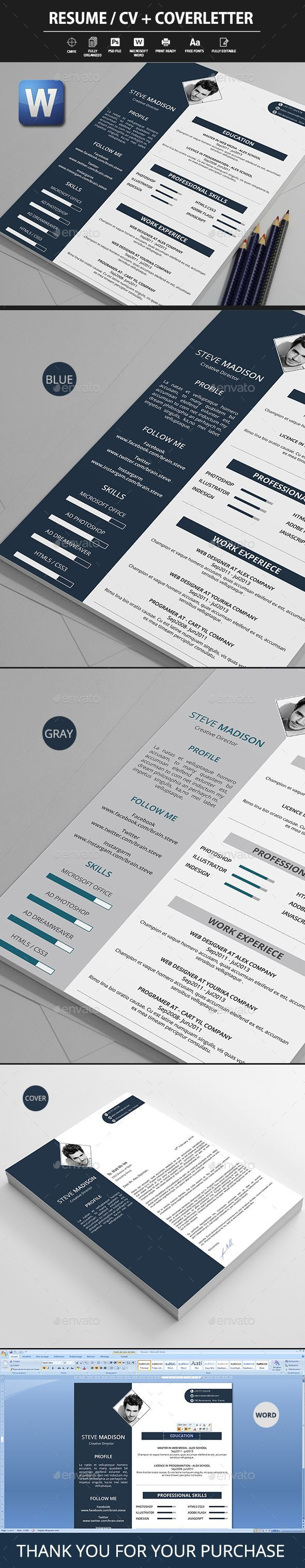 Resume / #CV + Coverletter #Template PSD. Download here ...