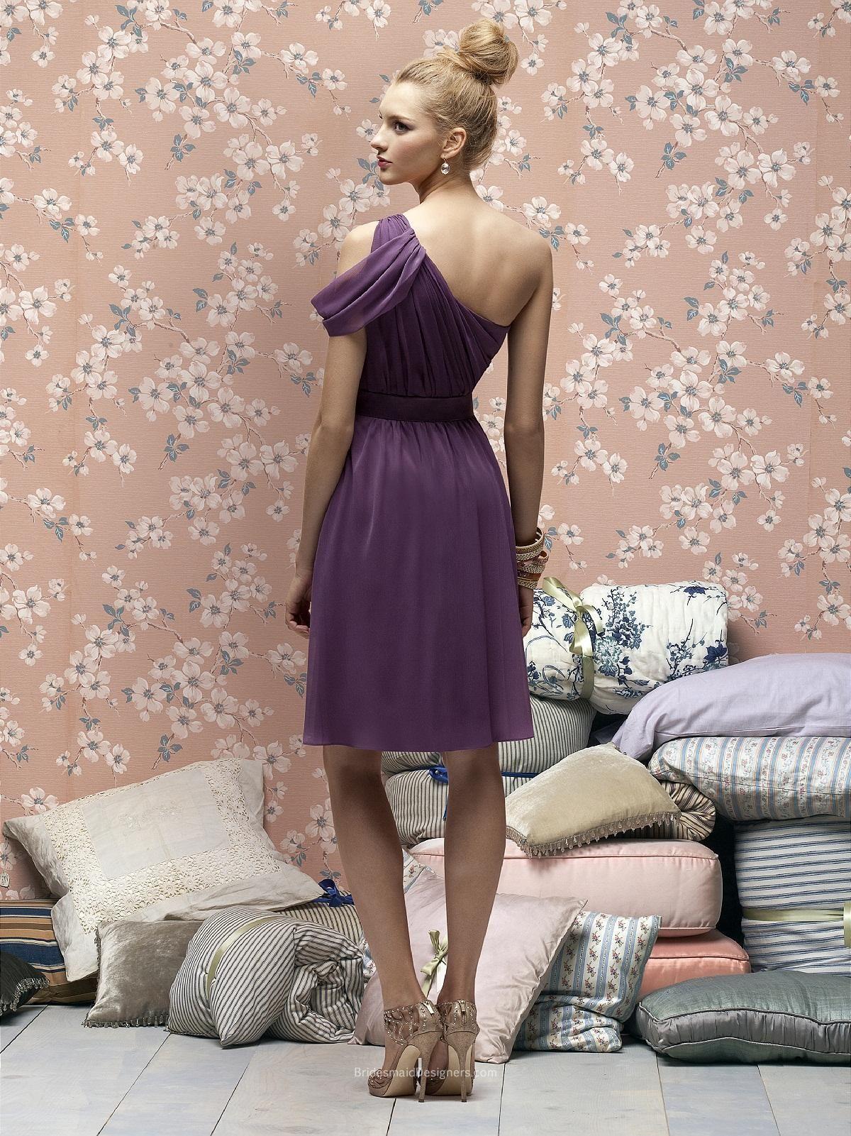Unusual Purple One Shoulder Knee Length Draped Crinkle Chiffon Bridesmaid Dress with Belt