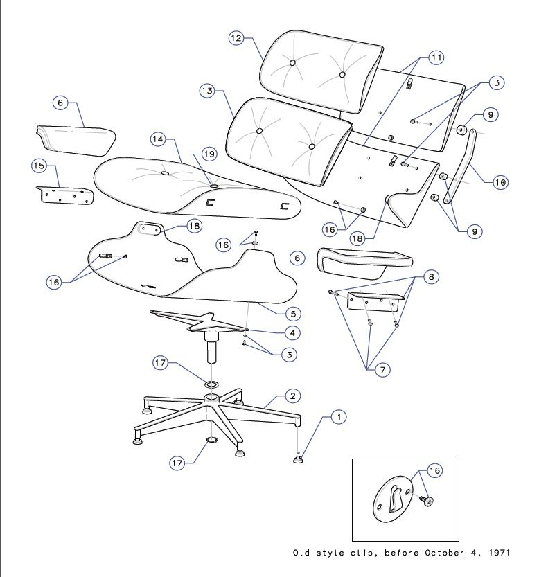 A Herman Miller schematic of the Eames Lounge Chair