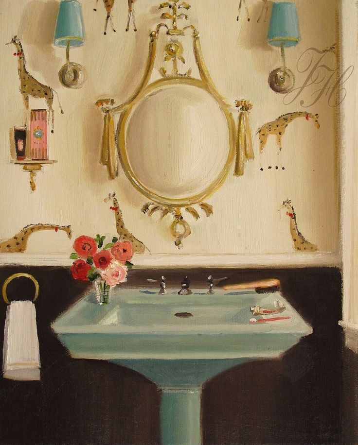 Cool painting... cooler if it were a real room. | Beautiful bathroom ...