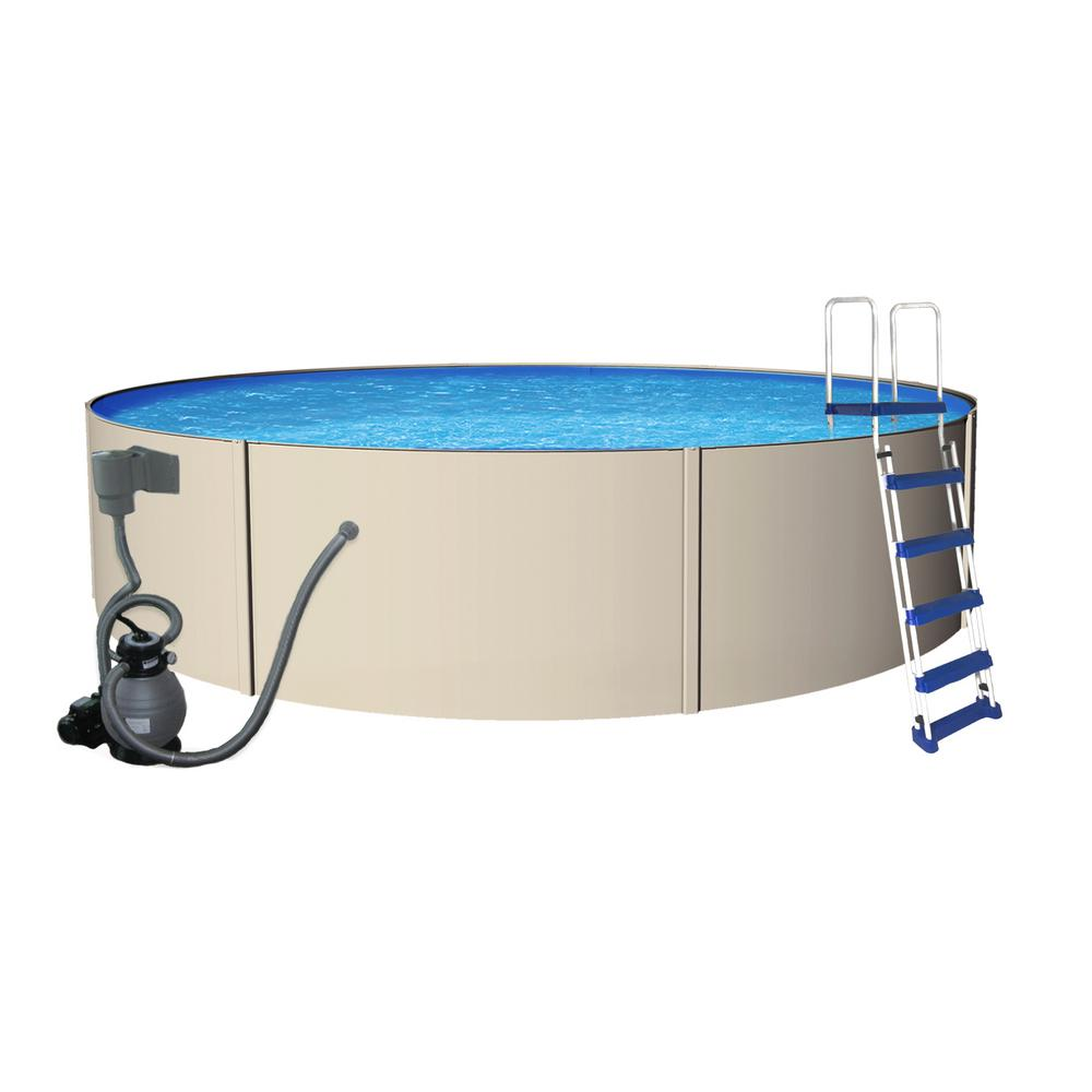 Blue Wave Rugged Steel 12 Ft Round X 48 In Deep Metal Wall Above Ground Pool Package Nb3304 The Home Depot Metal Walls In Ground Pools Steel Wall