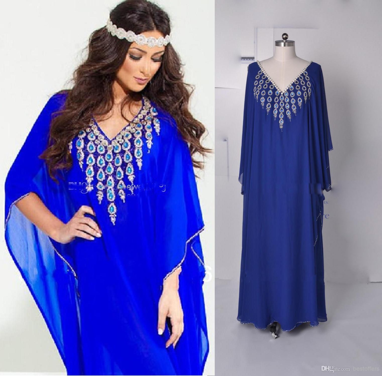 2016 royal blue new v neck chiffon beads long sleeve for Cheap wedding dresses in dubai