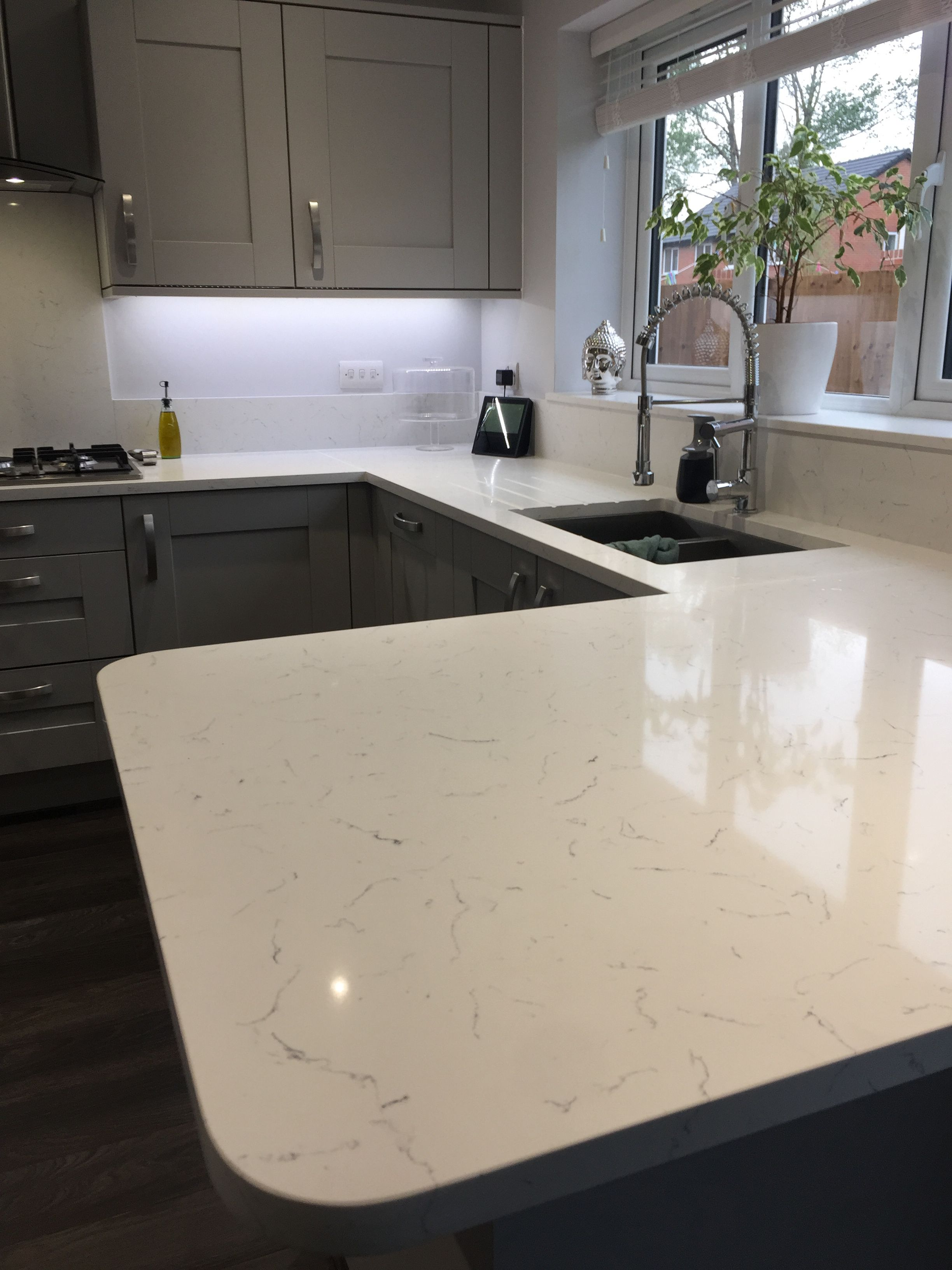 Our amazing Carrera Quartz worktops will finish off any
