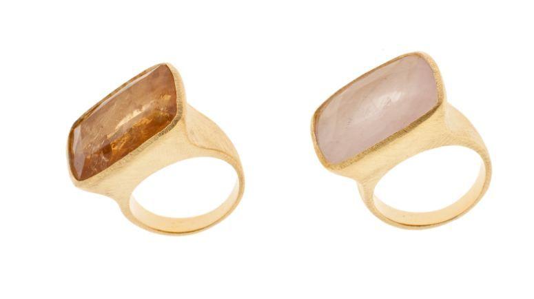 Anillos Piedra Semipreciosa Y Plata Chapada En Oro Rosa Piedras Preciosas Anillos Plata