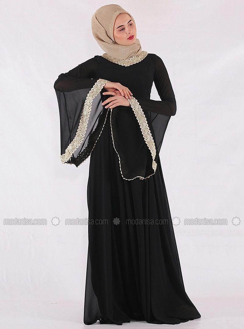 138d85e6c86c Black - Fully Lined - Crew neck - Muslim Evening Dress - Mileny ...