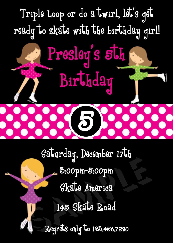 Ice Skating Birthday Invitations Ice Skating Party Invitation ...