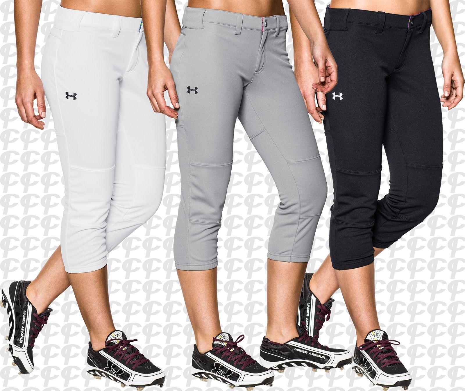 be711e977bd21 Under Armour HeatGear Strike Zone Women's Fastpitch Softball Pants Black,  White & Gray