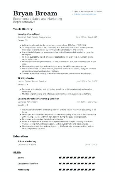 leasing consultant resume example  Leasing Manager Resume