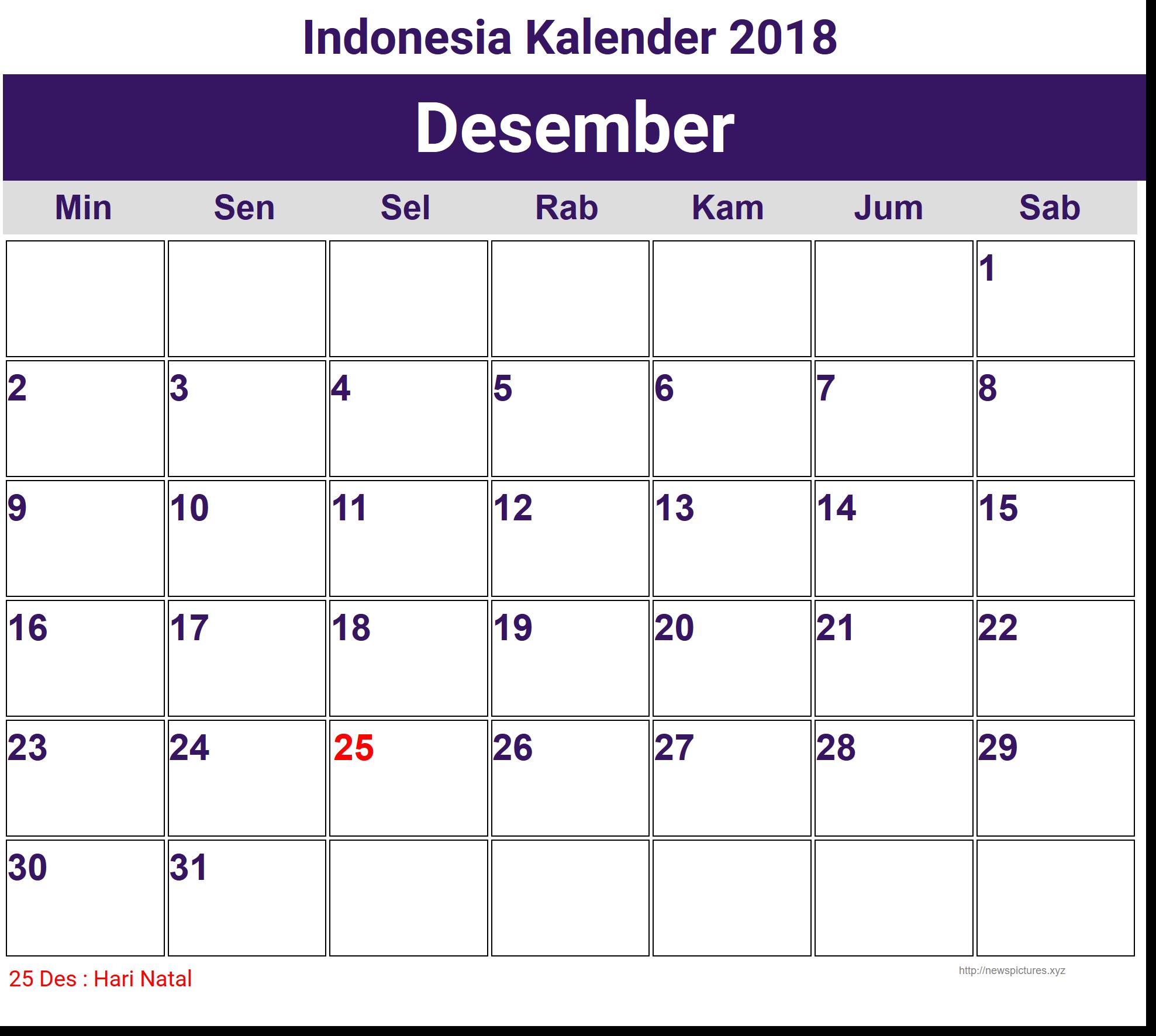 Image For Desember Indonesia Kalender 2018 Calendar 2018 Calendar Constitution Day
