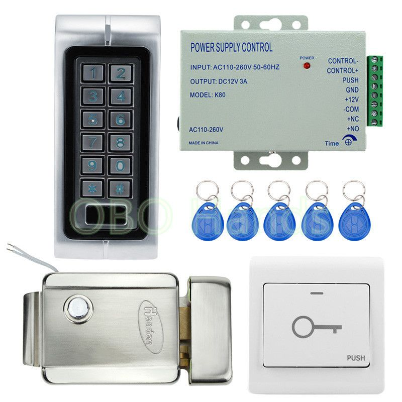 Ip65 Waterproof Standalone Access Controller Metal Keypad Rfid Card Reader With Electric Lock For Door A Door Lock System Access Control Security Camera System