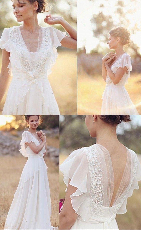 Simple Informal V-neck Chiffon Summer Outdoor Wedding Dress
