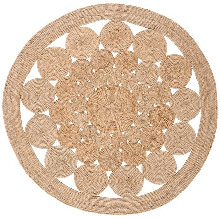 Round Phirun Handmade Flatweave Jute/Sisal Natural