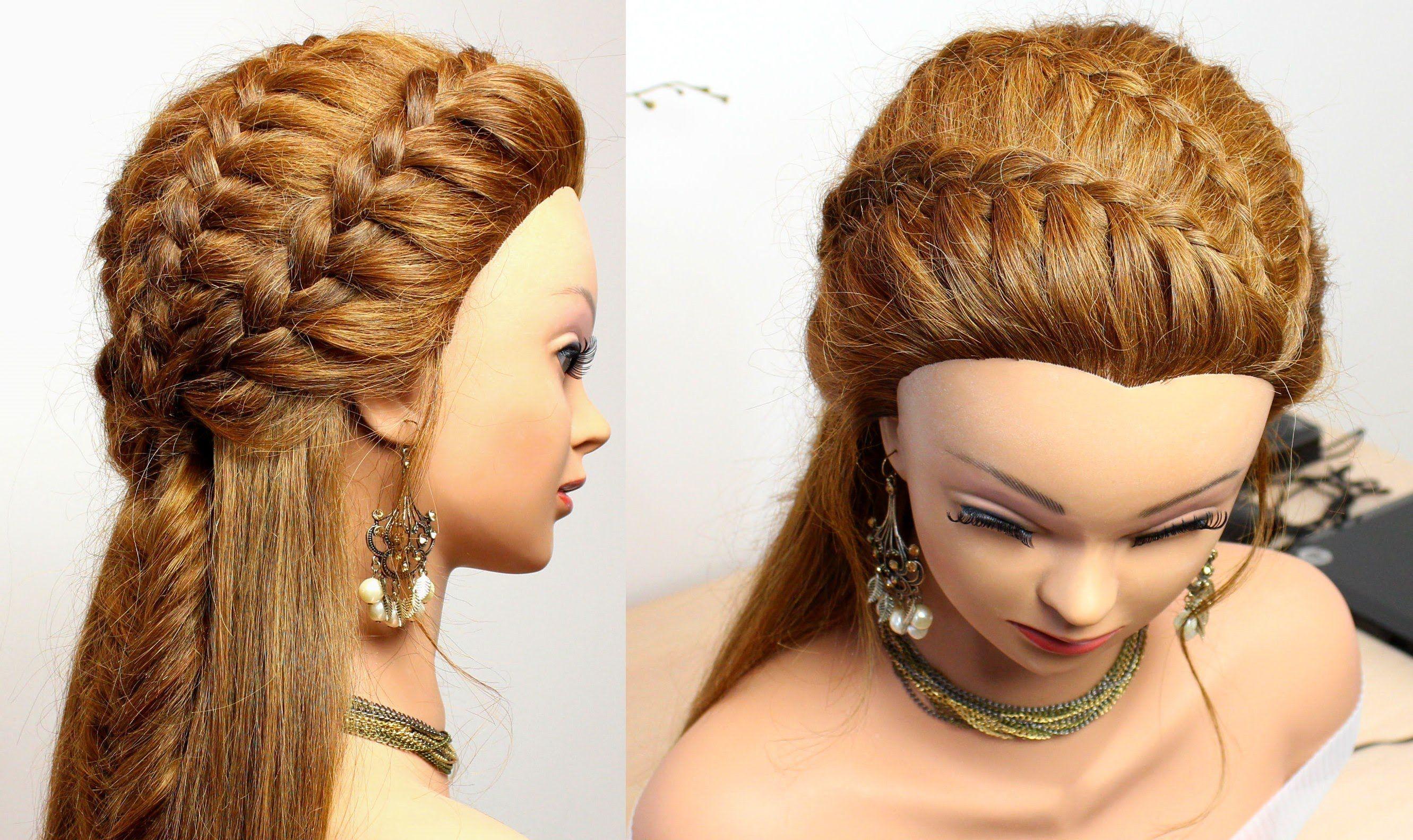 Hairstyle for medium long hair Easy braids tutorial make up