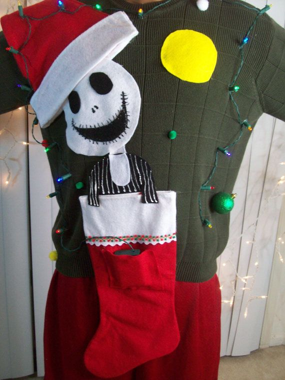Clearance Large Lite Up Ugly Christmas Sweater Men Nightmare Before