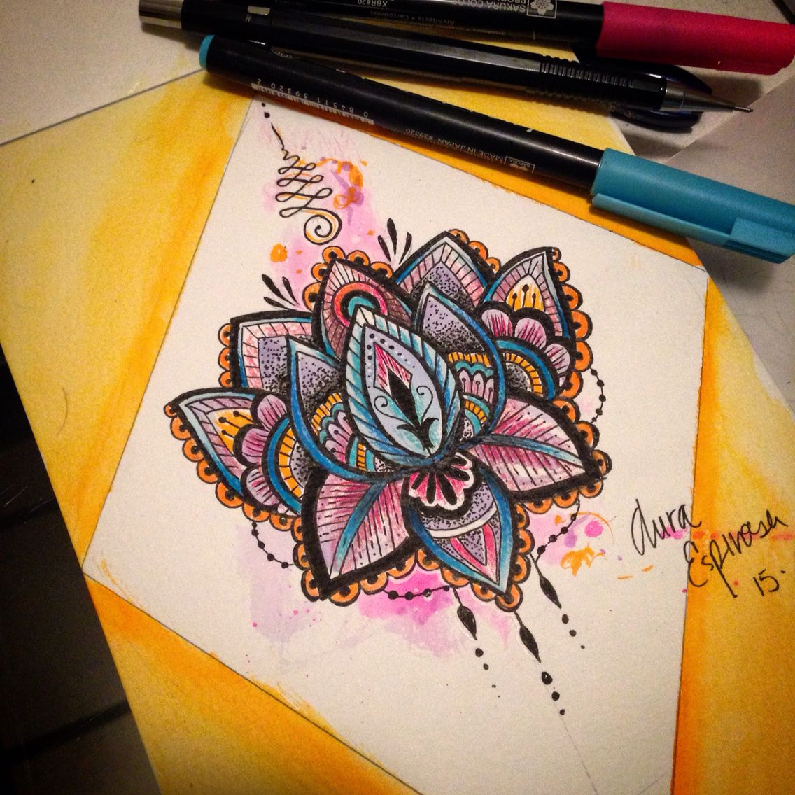 Lotus flower design done by our amazing resident artist