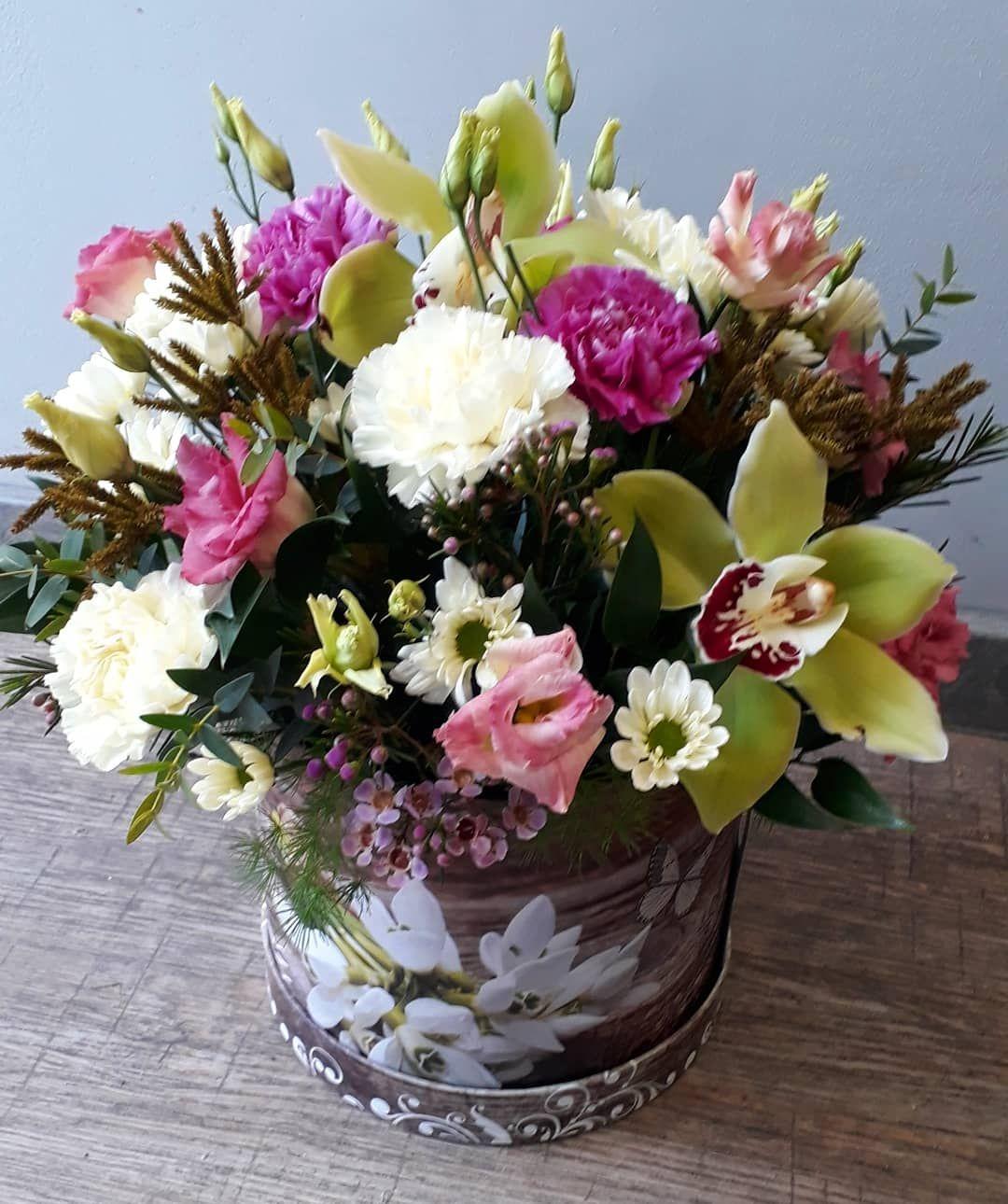 Flower Flowerbox Cymbidium Zielonecymbidium Gozdziki Margaretka Eustoma Wax Flower Boxes Flowers Decor