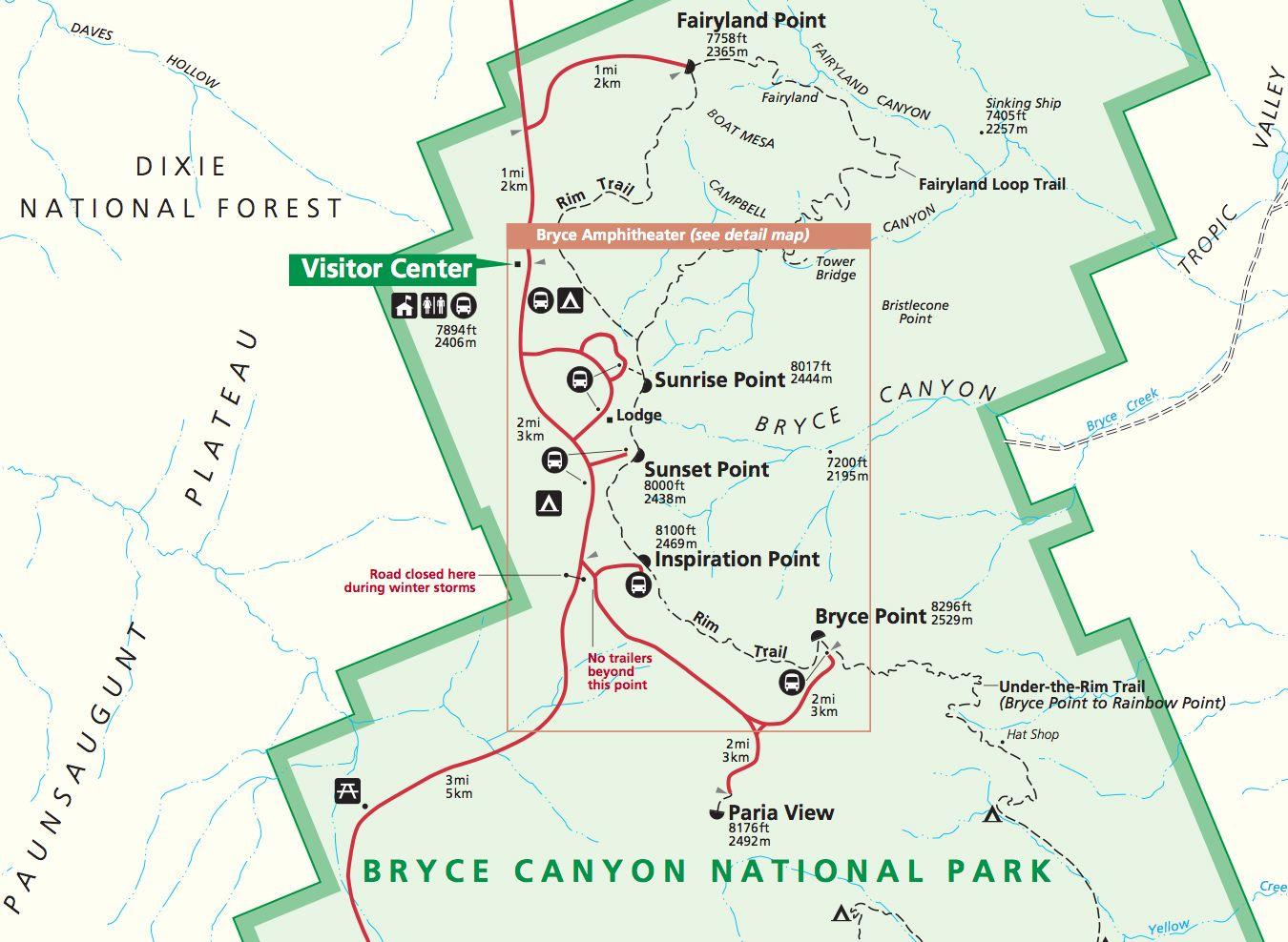 bryce canyon hiking map Google Search Travel Pinterest Bryce