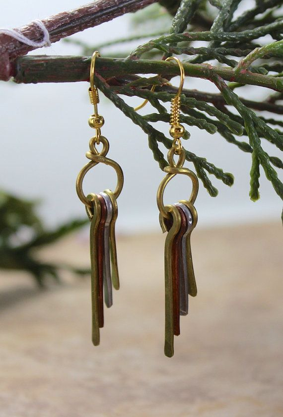 Recycled Wire Dangle Earrings by dharmashop on Etsy