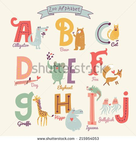 2aa1bc41e Cute zoo alphabet in vector. A, b, c, d, e, f, g, h, i, j letters. Funny  cartoon animals. Alligator, bear, cat, dog, elephant, fox, giraffe, hippo,  iguana, ...