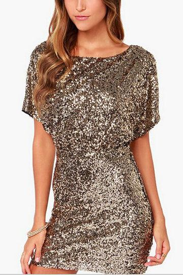 b24a41584d17 Sequin Dress with Cut Out Back from mobile - US 37.95 -YOINS ...