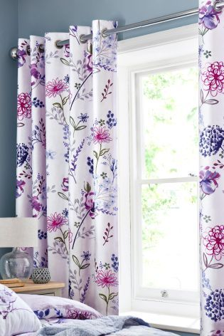 Buy Cotton Sateen Wild Floral Lined Eyelet Curtains Online Today At Next New Zealand Curtains House Styles Stylish Bedroom