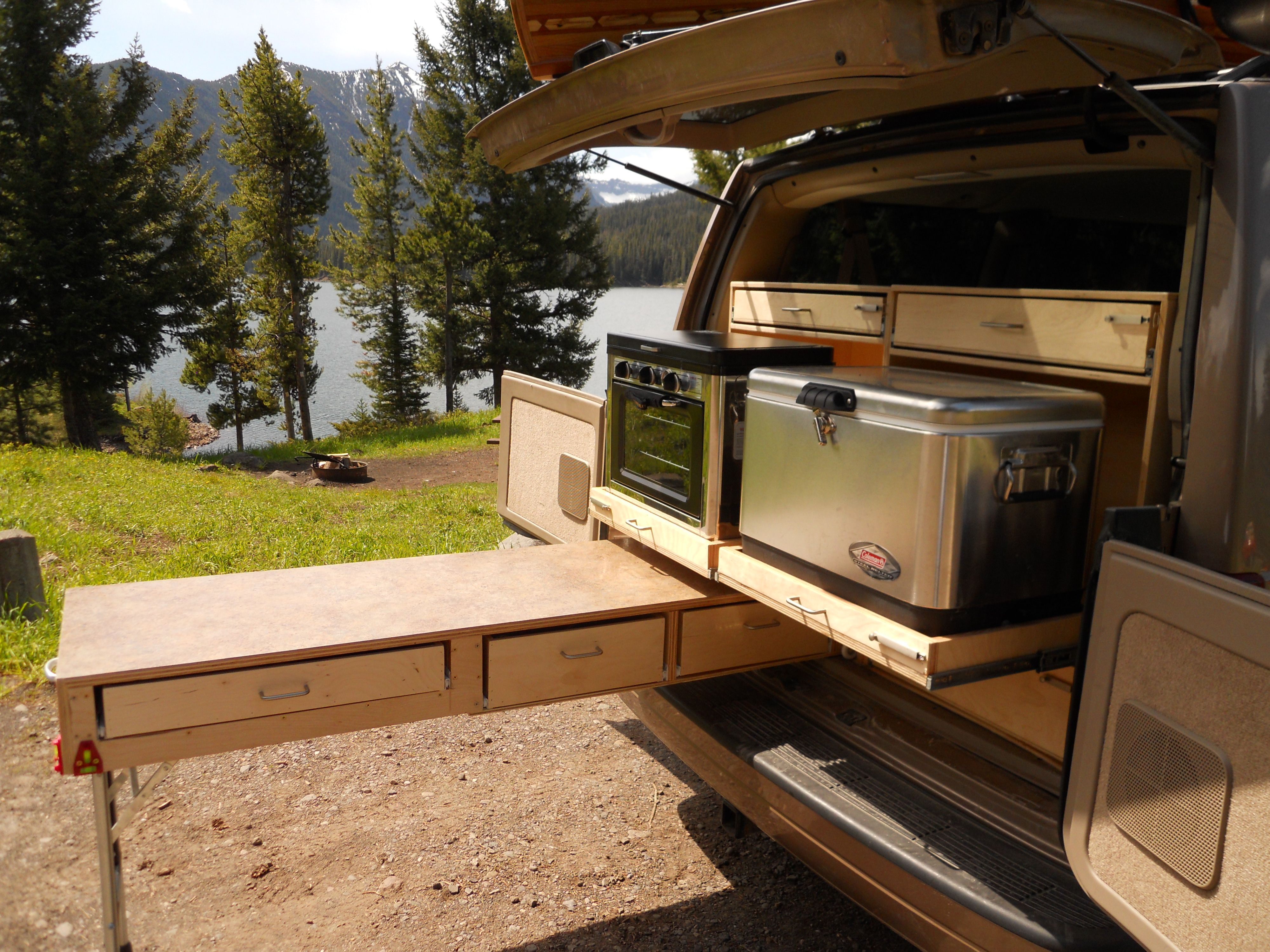 Camping In The Super Sweet Van No Plans But Would Be Easy To Design Something Similar Tiny House Camper Camper Conversion Campervan Conversions