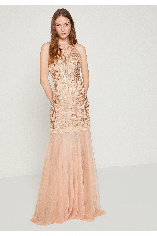 Koton Kahverengi Desenli Uzun Abiye Elbise Elbisebul Elbise The Dress Balo Elbiseleri