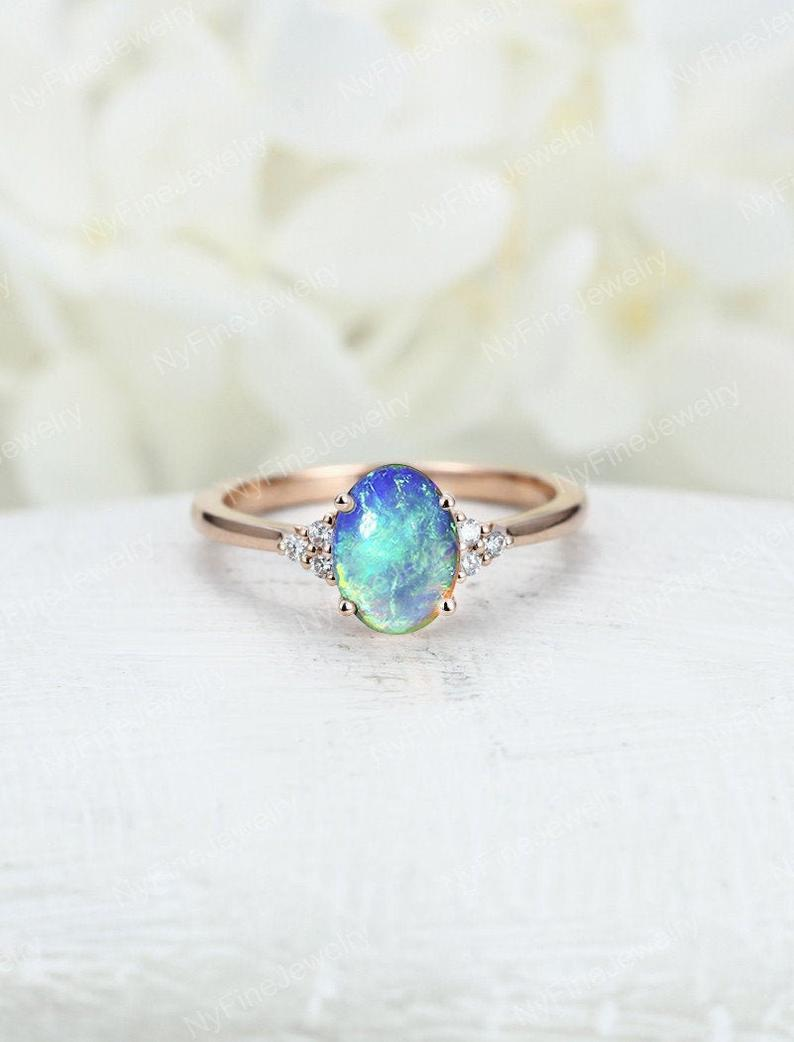 Opal engagement ring Rose gold engagement ring blue opal Diamond ring vintage Unique wedding Bridal Anniversary for
