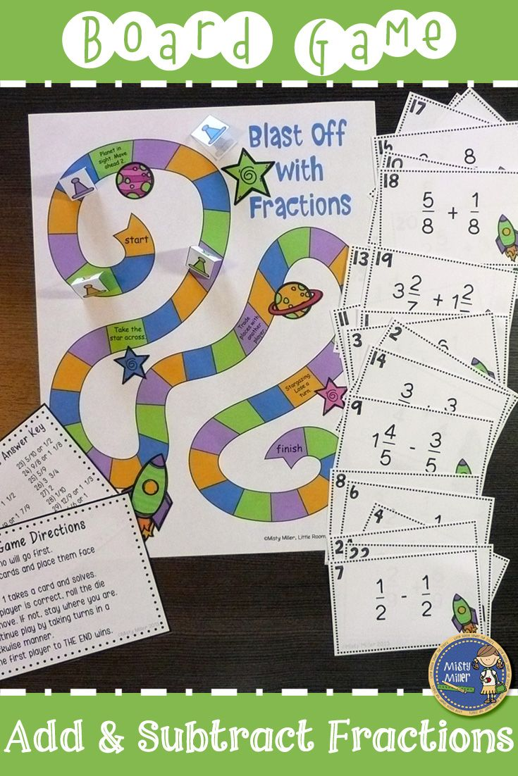 Adding And Subtracting Fractions Board Game Adding And Subtracting Fractions Subtracting Fractions Fractions Adding and subtracting equations game