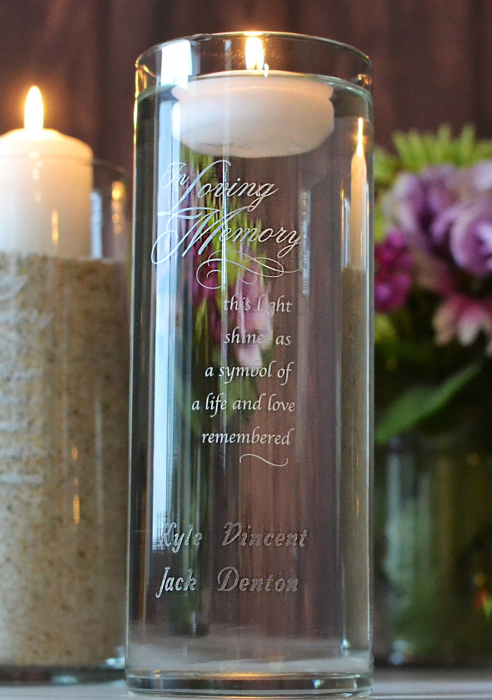 Wedding Memorial Idea - Glass cylinder custom engraved In Loving Memory  with loved ones' names. Fi… | Memorial candle holder, Memorial candle, Memory  candle wedding
