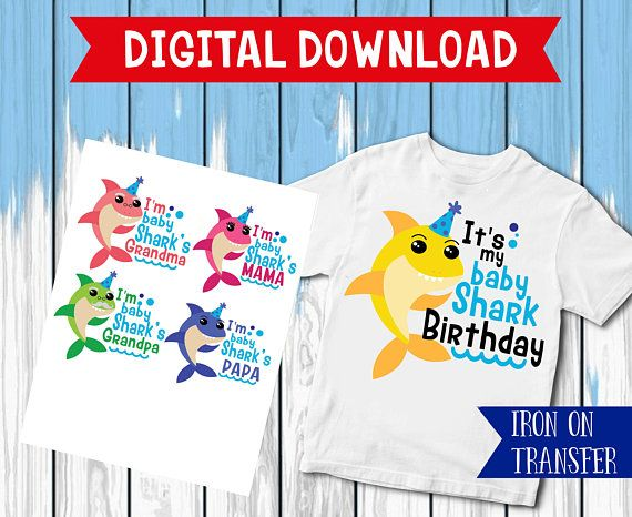 Family shark iron on, Baby Shark Birthday Shirt, mama Shark Iron On ...