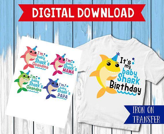 61d8b591e Family shark iron on, Baby Shark Birthday Shirt, mama Shark Iron On  Transfer, Bpapa Shark , Boy Birt