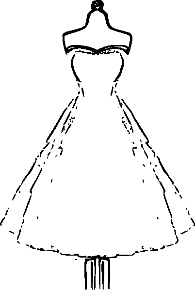 Beautiful Dress Coloring Pages And Pictures For Adults And Kids Clip Art Vintage Silhouette Clip Art Paper Clothes
