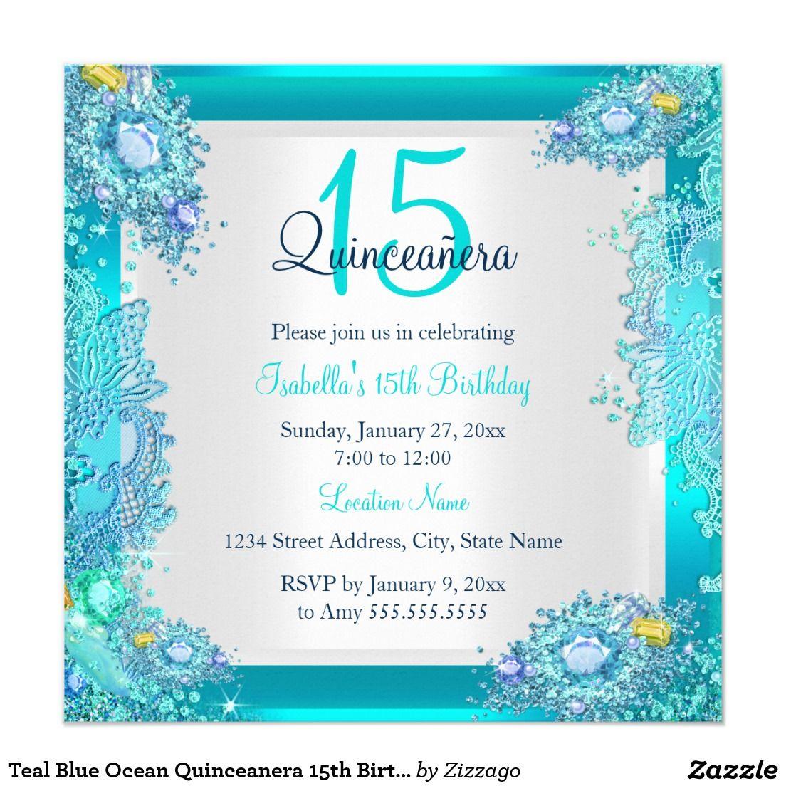 Teal Blue Ocean Quinceanera 15th Birthday Card   Teal blue, 15th ...