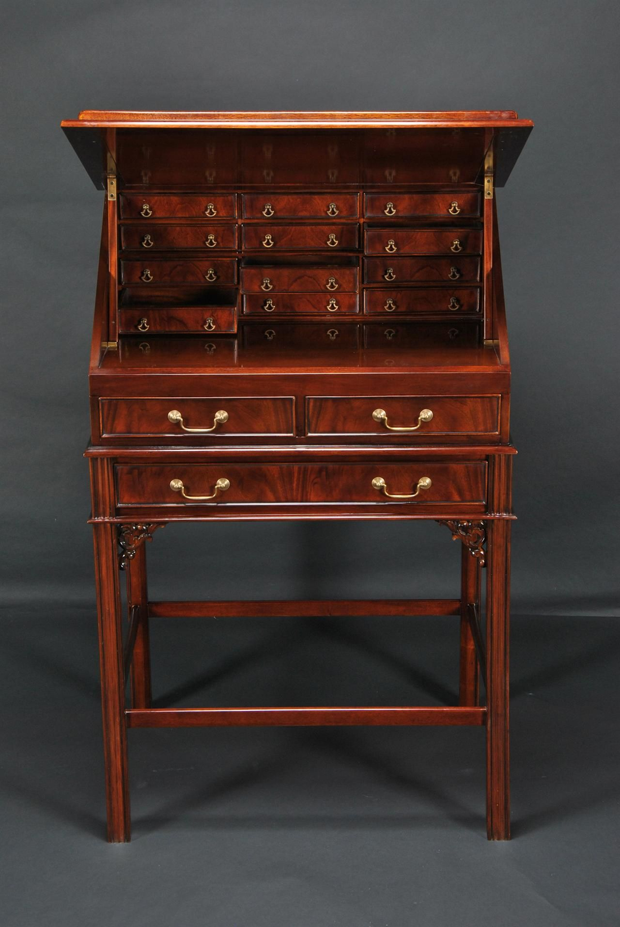 antique+stand+up+desk | Mahogany and Leather Stand Up Desk. Upright Desk  with drawers - Leather Top Stand Up Desk With Interior Drawers Standing Desks