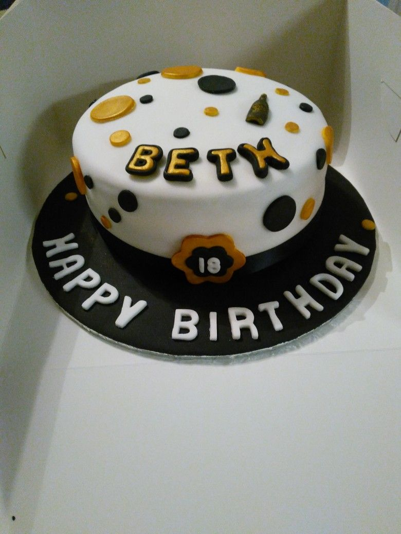 18th birthday cake black gold and white with images