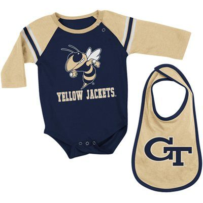 Georgia Tech Yellow Jackets Infant Dynamo Long Sleeve Creeper Bib Set Navy Blue Gold With Images Georgia Tech Yellow Jackets Bib Set Kids Jacket