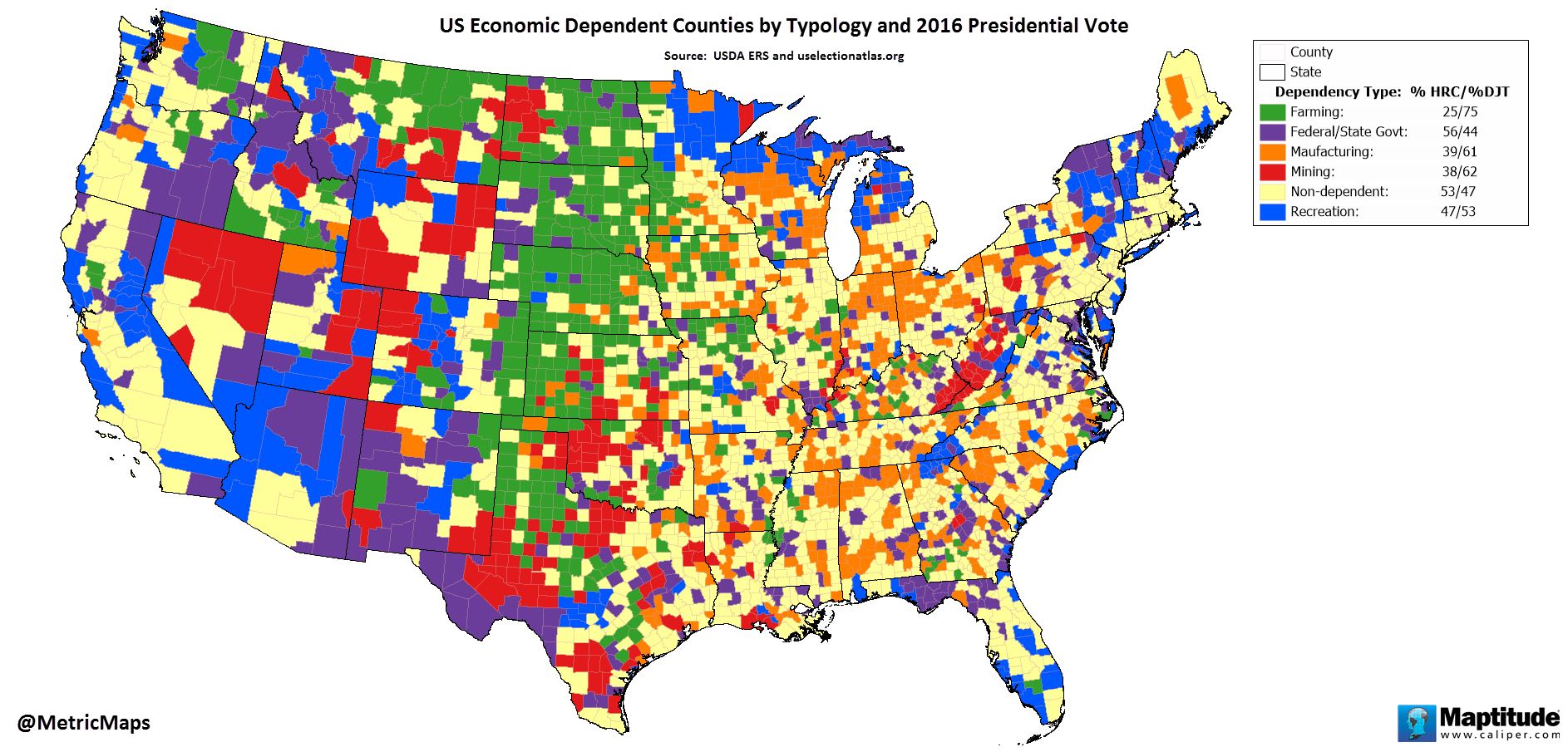 Us Economic Dependent Counties By Typology And 2016 Presidential - Us-map-vote-2016