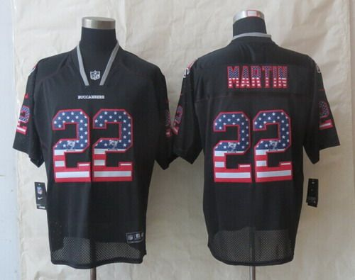 2014 New Nike Tampa Bay Buccaneers 22 Martin USA Flag Fashion Black Elite Jerseys