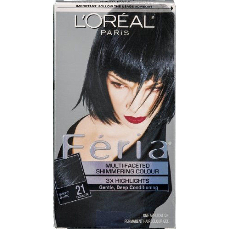 L Oreal Paris Feria Permanent Haircolour Gel Bright Black 21