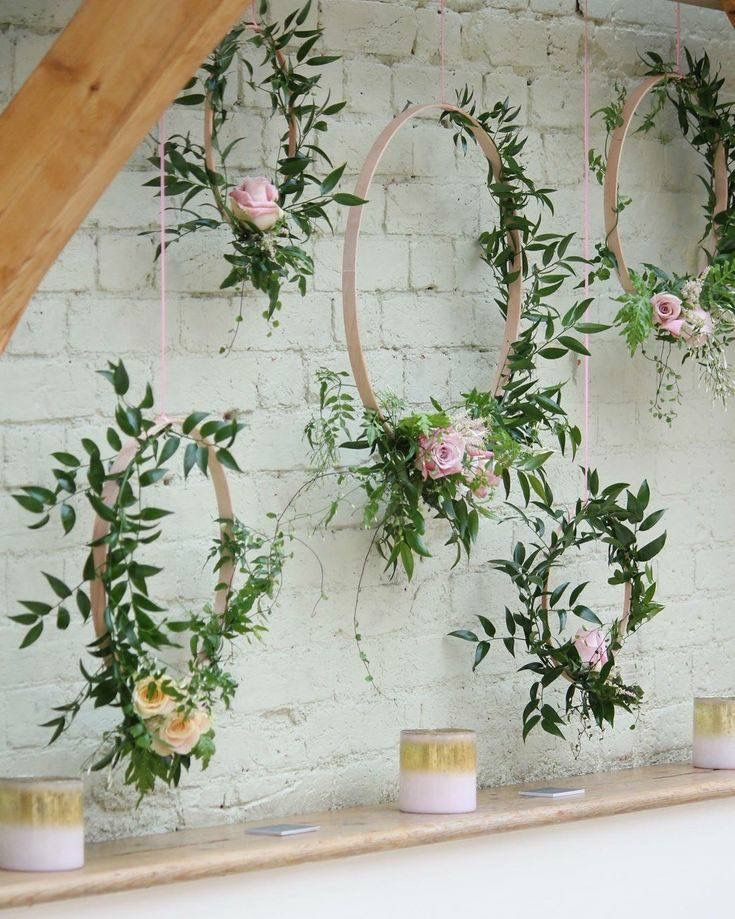 Photo of Embroidery hoop wreath backdrop