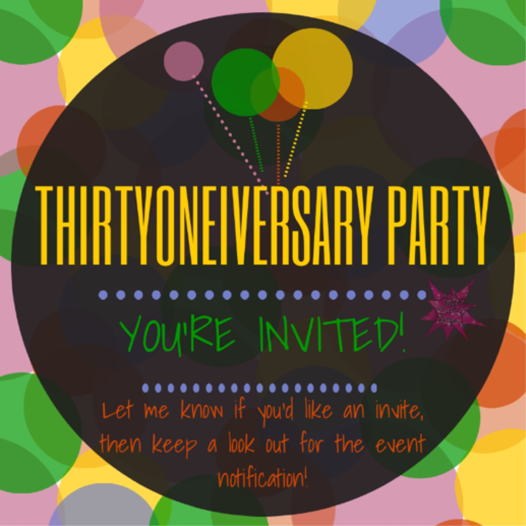 Thirtyoneiversary Party Invite Graphic For Vip Facebook Group