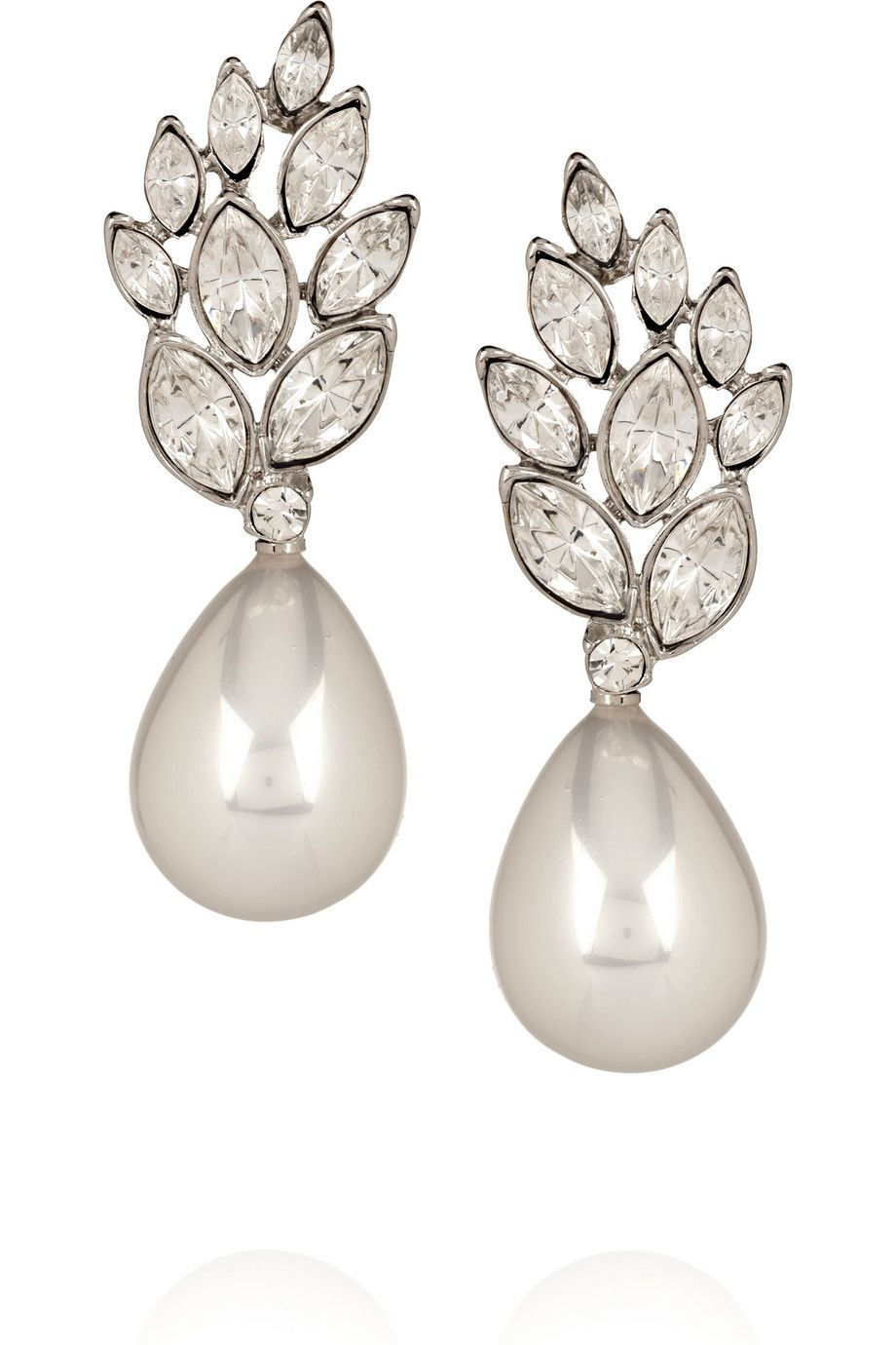 Crystal And Faux Pearl Drop Earrings By Kenneth Jay Lane