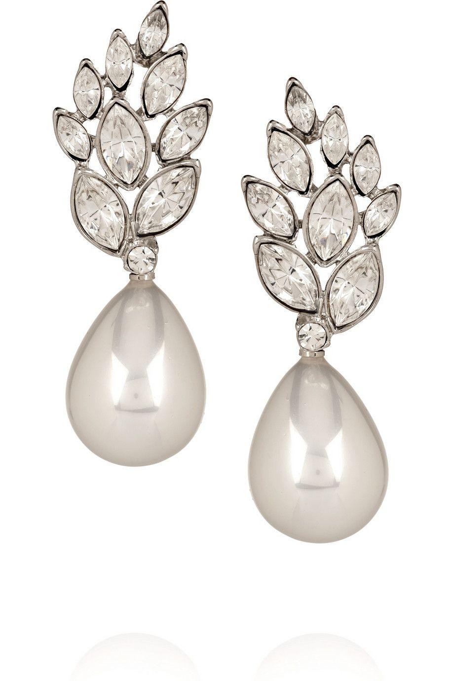 Vintage pearl drop gold earrings bocheron pearl earrings gold - Crystal And Faux Pearl Drop Earrings By Kenneth Jay Lane
