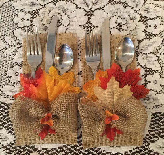 Fall Burlap Silverware Holder. Fall Leaves.Country | Etsy