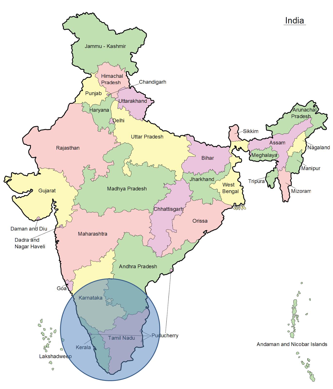 Guía de India (viaje por el Sur) para mochileros Mapa de