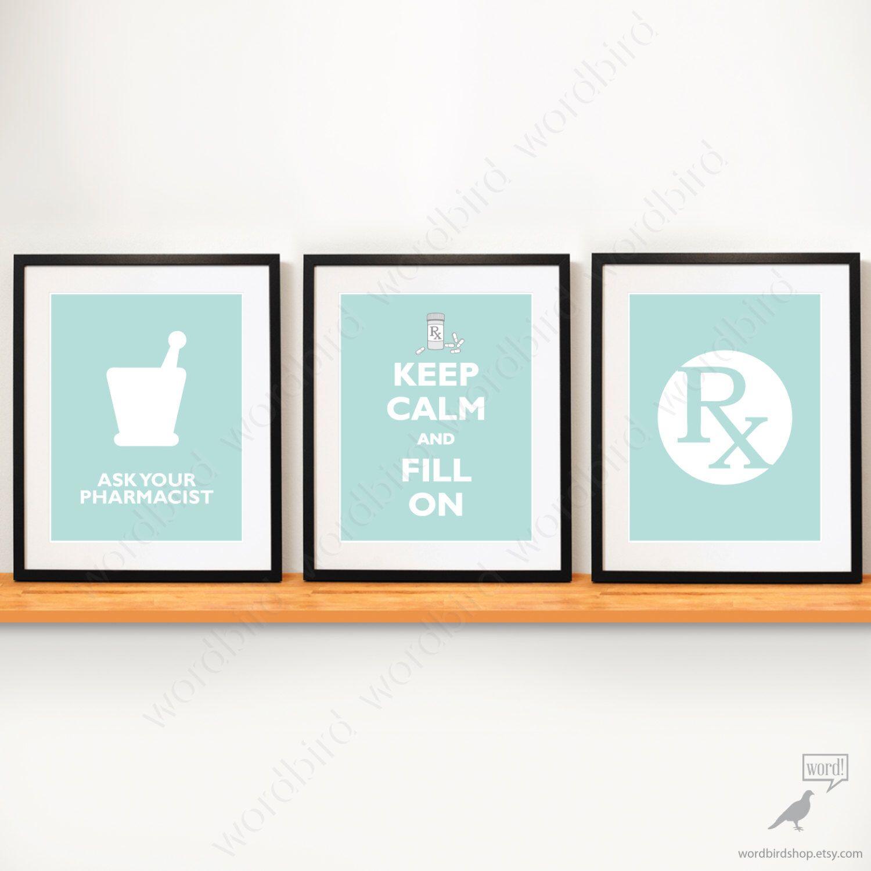 Set of 3 pharmacy student gift pharmacy poster
